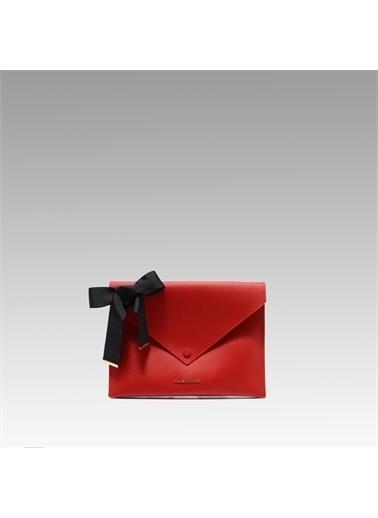 Black Ribbon Çift Taraflı Ipad Çantası Kırmızı